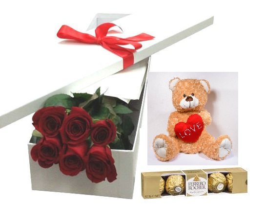 6 stem red roses, bear & chocs