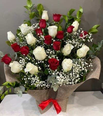 White & Red Roses Arrangement