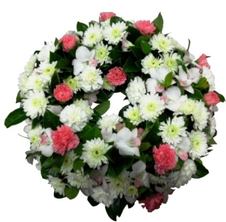 Funeral White and pink Wreath