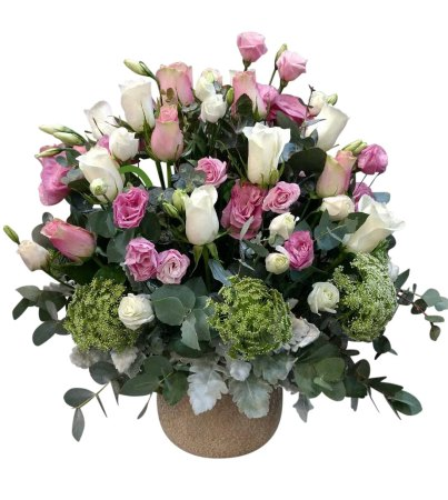 Light pink Rose & White roses  Pot Arrangement