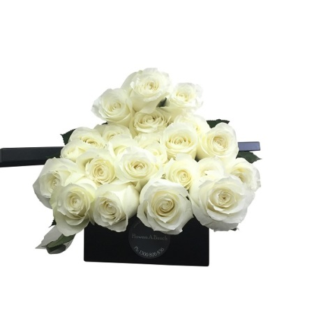 Gift box long stem white roses