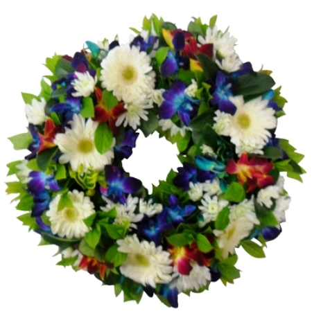 Funeral White and Blue Wreath