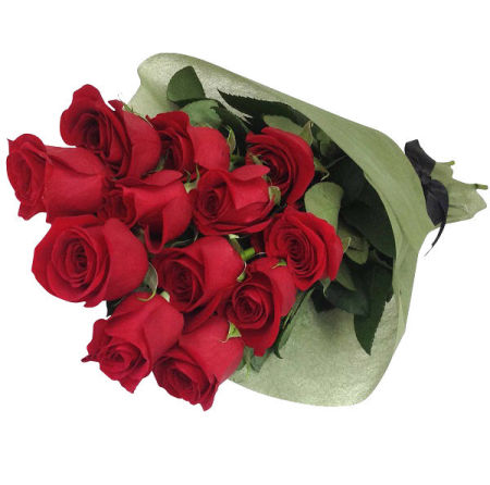 12 Red Roses for Valentine`s Day
