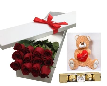 12 stem red rose, chocolates, bear
