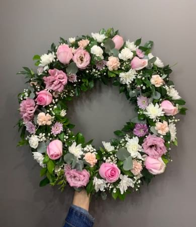 Funeral Wreath pastel pink