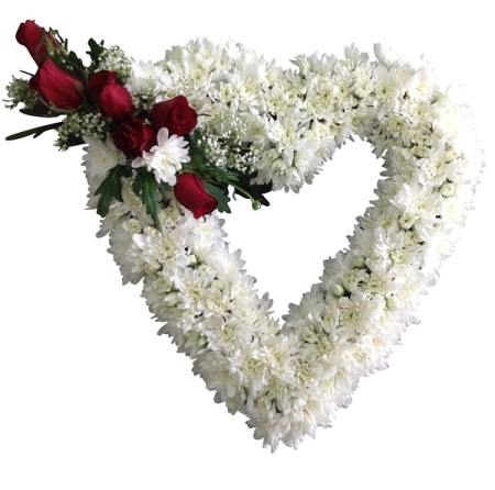Funeral White & Red Heart wreath