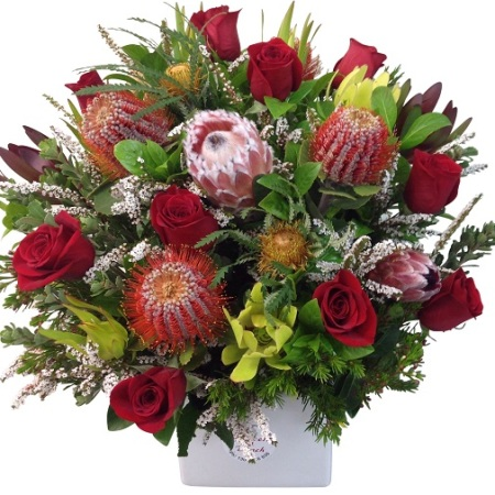 Red roses and Native Arrangement