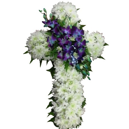 Funeral White and Blue Cross