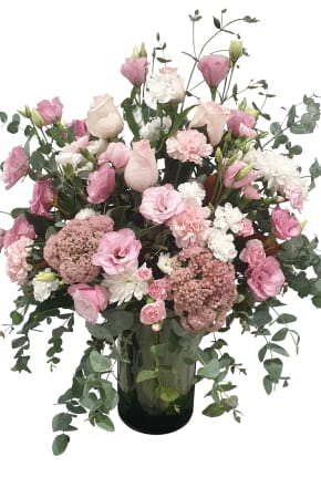 Tall pink vase arrangement