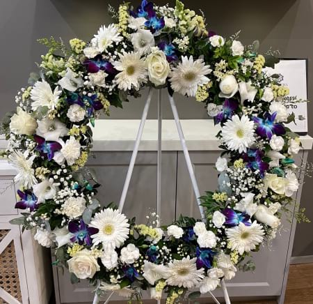 Funeral Wreath Blue & White