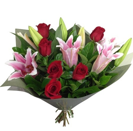 Pink Lilies and Red roses bouquet