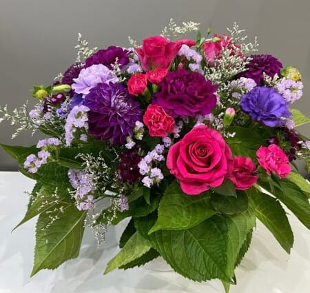 purple and hot pink arrangement