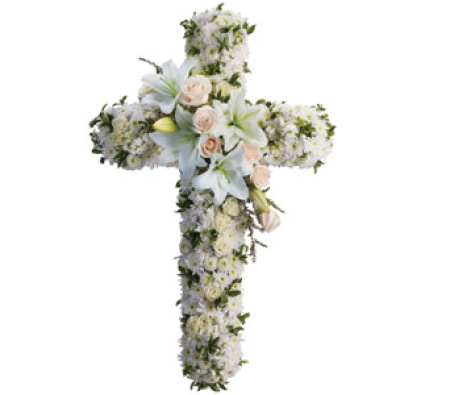 Funeral pink & white Cross