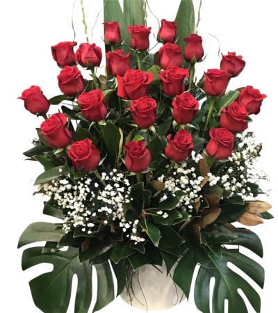 24 Long stem red Rose Ceramic Arrangement
