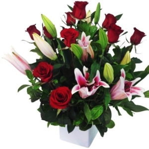 Red Roses and lily  arrangement